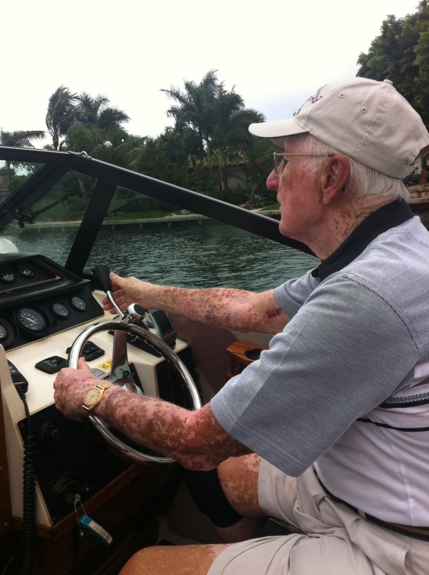 Don captains his power boat in the inter coastal near Ft Lauderdale. He has, to this day, incredible eyesight, and can see markers long before those decades younger than he is